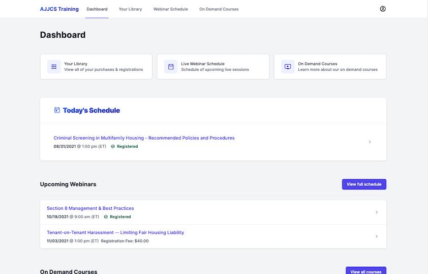 training platform user interface
